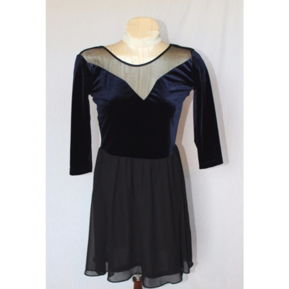 4244c0750c70 H&M Dresses | Hm Divided Blue Velvet Black Mesh Mini Dress | Poshmark